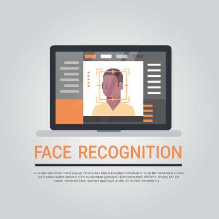 Illustration pour Face Recognition Technology Laptop Computer Security System Scanning African American Male User Biometric Identification Concept Vector Illustration - image libre de droit