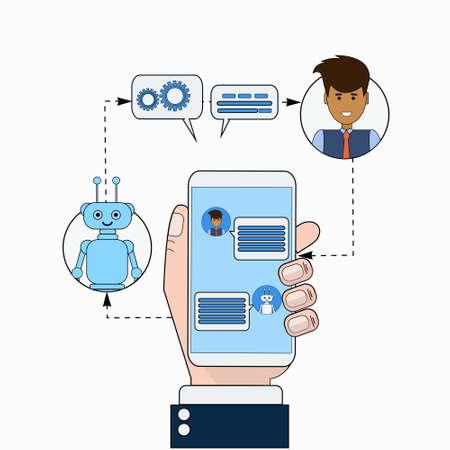 Ilustración de Business Man Communicating With Chatbot Using Smart Phone Modern Chatter Technology Tech Support Service Online Concept Vector Illustration - Imagen libre de derechos