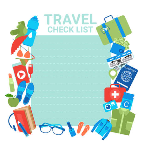 Illustration pour Travel Check List Template Background For Checklist For Packing, Planning Of Vacation Suitcase With Items Flat Vector Illustration. - image libre de droit