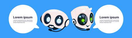 Illustration pour Robot Chatter Bot Or Chatbot On Blue Background With Copy Space Flat Vector Illustration - image libre de droit