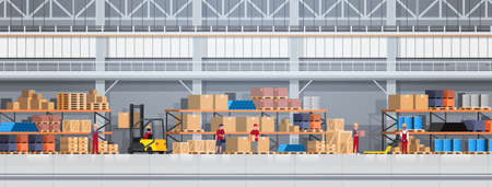 Ilustración de People Working In Warehouse Lifting Box With Forklift. Logistic Delivery Service Concept Horizontal Banner Flat Vector Illustration - Imagen libre de derechos