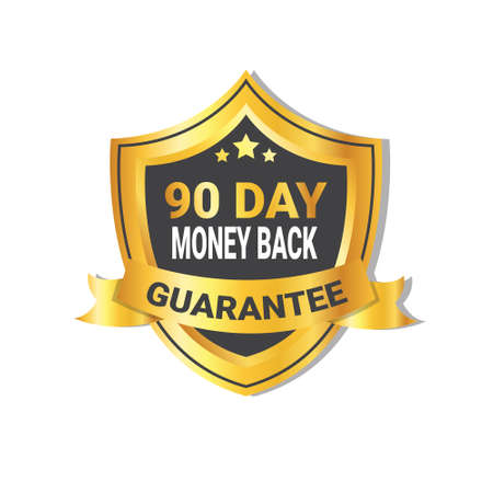Illustration pour Golden Shield Money Back In 90 Days Guarantee Label with Ribbon Isolated Vector Illustration - image libre de droit