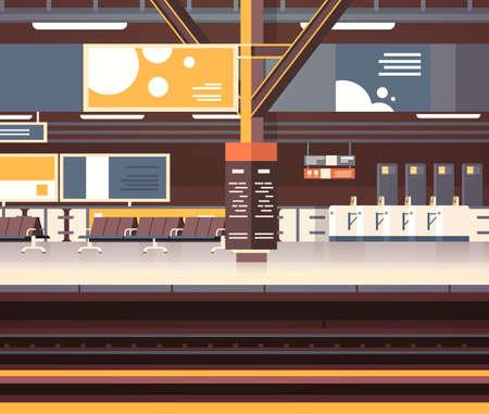 Ilustración de Train Station Interior Background Empty Platform Subway Or Railway With No Passengers - Imagen libre de derechos