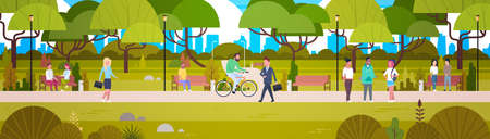 Illustration pour People Relaxing In Beautiful Urban Park Walking Riding Bicycle And Communicating Horizontal Banner Flat Vector Illustration - image libre de droit