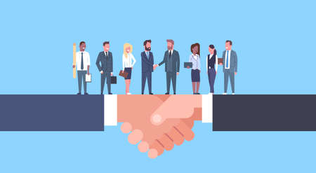 Illustration pour Two Businessmen Shaking Hands With Team Of Businesspeople, Business Agreement And Partnership Concept Flat Vector Illustration - image libre de droit