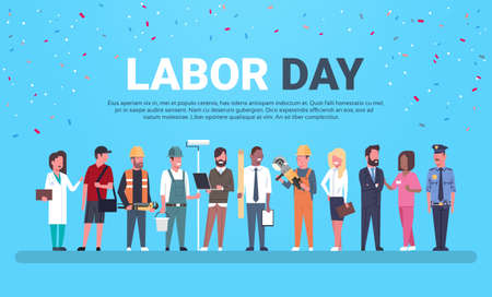 Illustration pour Labor Day Poster With People Of Different Occupations Over Background With Copy Space Flat Vector Illustration - image libre de droit