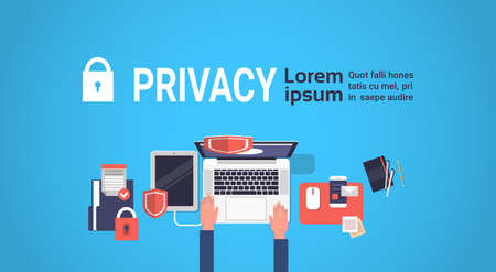 Illustration pour hand laptor GDPR isometric data privacy on blue background network protection of personal storage General Data Protection Regulation concept banner copy space vector illustration - image libre de droit