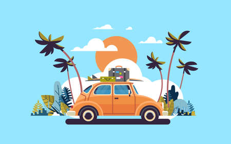 Illustration pour retro car with luggage on roof tropical sunset beach surfing vintage greeting card template poster flat vector illustration - image libre de droit