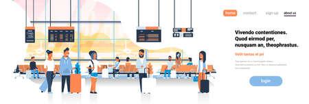 Illustration pour man woman waiting takeoff in airport hall departure lounge passengers terminal check interior flat banner copy space vector illustration - image libre de droit