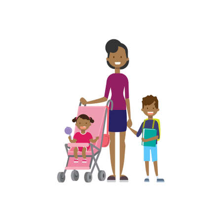 Illustration pour african mother with new born baby children in stroller full length avatar on white background, successful family concept, flat cartoon design vector illustration - image libre de droit