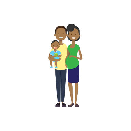 Illustration pour african pregnant mother father hold baby son full length avatar on white background, successful family concept, flat cartoon vector illustration - image libre de droit
