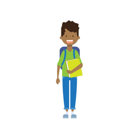 Illustration pour african school boy with book , full length avatar on white background, successful study concept, flat cartoon design vector illustration - image libre de droit