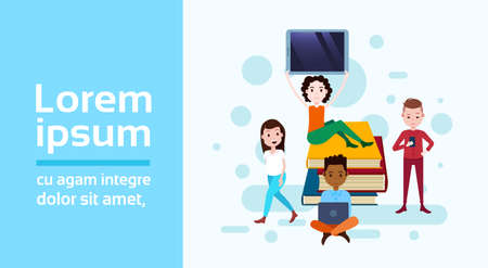 Ilustración de girl sitting booking stack hold tablet boy with gadgets template for design work and animation on white background full length flat horizontal copy space vector illustration - Imagen libre de derechos