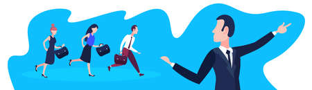 Illustrazione per business people following team leader businessman pointing direction teamwork success concept horizontal banner flat cartoon character portrait full length vector illustration - Immagini Royalty Free