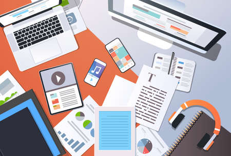 Illustration for digital content management information technology concept top angle view desktop computer tablet laptop smartphone article text document office stuff horizontal vector illustration - Royalty Free Image