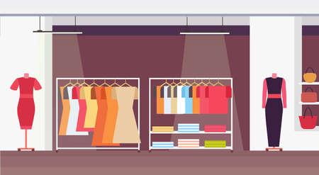 Illustration pour big fashion shop super market female clothes shopping mall interior modern boutique horizontal flat vector illustration - image libre de droit
