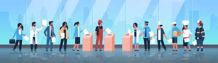 Illustration pour election day concept different occupations voters casting ballots at polling place mix race people putting paper ballot in box during voting full length flat horizontal vector illustration - image libre de droit