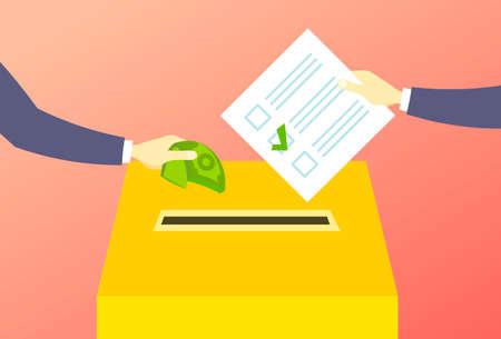Illustration pour voter putting paper ballot list in box selling vote hand giving money during voting election corruption concept flat horizontal vector illustration - image libre de droit