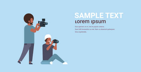 Illustration pour photographer and cameraman using cameras shooting video taking pictures working together teamwork during studio session horizontal full length flat copy space vector illustration - image libre de droit