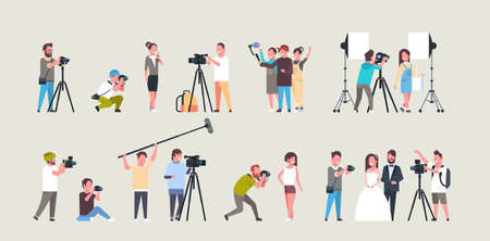 Illustration pour set different poses photographers and cameramans using cameras african american characters shooting video taking pictures working during session collection horizontal full length flat vector illustration - image libre de droit