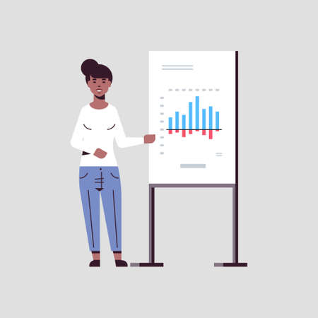 Illustrazione per businesswoman presenting financial graph on flip chart african american business woman at seminar making presentation concept female speaker on conference meting flat full length vector illustration - Immagini Royalty Free