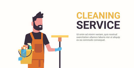 Ilustración de man janitor holding bucket with tools and mop cleaning service concept smiling male worker portrait horizontal copy space flat vector illustration - Imagen libre de derechos