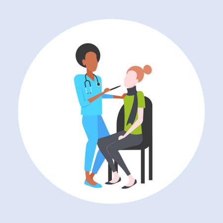 Illustration pour female doctor examining throat of woman patient by depressor sore medicine healthcare concept full length flat vector illustration - image libre de droit