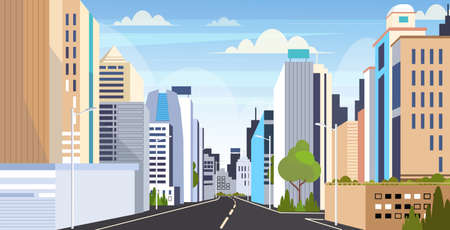 Illustration pour highway asphalt road city skyline modern buildings high skyscrapers cityscape background flat horizontal vector illustration - image libre de droit