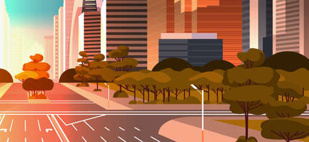Illustration pour highway asphalt road with marking arrows traffic signs city skyline modern skyscrapers cityscape sunset background flat horizontal vector illustration - image libre de droit