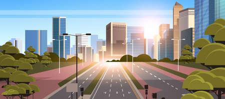 Illustration pour highway asphalt road with marking arrows traffic signs city skyline modern skyscrapers cityscape sunshine background flat horizontal vector illustration - image libre de droit