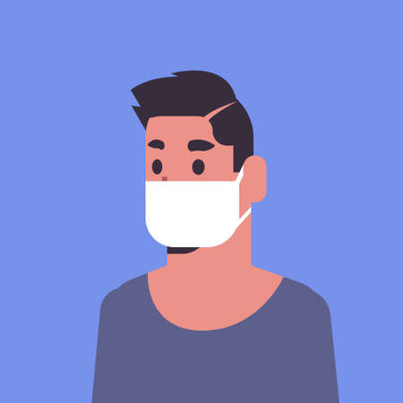 Illustrazione per man wearing face mask environmental industrial smog dust toxic air pollution and virus protection concept male cartoon character portrait flat vector illustration - Immagini Royalty Free