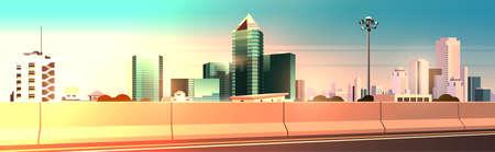 Illustration pour highway asphalt road with chipper city skyline modern skyscrapers cityscape sunset background flat horizontal banner vector illustration - image libre de droit