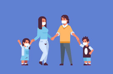 Illustrazione per parents and children wearing face masks environmental industrial smog dust toxic air pollution and virus protection concept family holding hands standing together full length horizontal flat vector illustration - Immagini Royalty Free