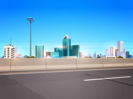 Illustration pour highway asphalt road with chipper city skyline modern skyscrapers cityscape background flat horizontal banner vector illustration - image libre de droit
