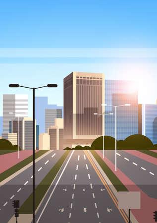Illustration pour highway asphalt road with marking arrows traffic signs city skyline modern skyscrapers cityscape sunrise background flat vertical vector illustration - image libre de droit