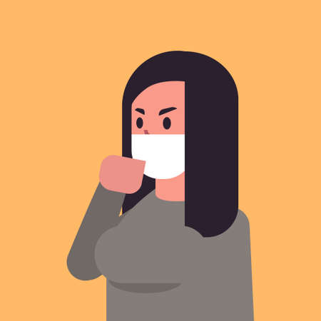 Illustrazione per woman wearing face mask environmental industrial smog dust toxic air pollution and virus protection concept female cartoon character portrait flat vector illustration - Immagini Royalty Free