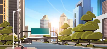 Illustration pour asphalt road with information banner traffic signs city skyline modern skyscrapers cityscape sunshine background flat horizontal vector illustration - image libre de droit