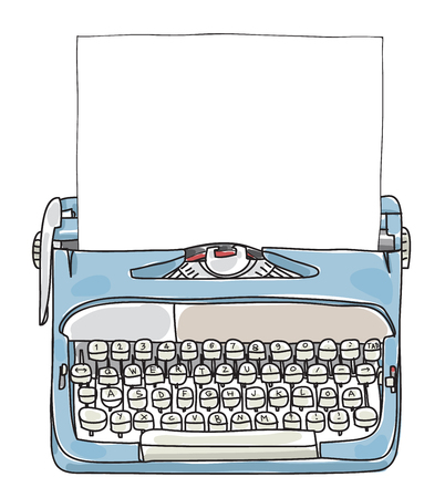 Illustration pour Light Blue Working Typewriter with paper  hand drawn vector cute art illustration - image libre de droit
