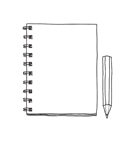 Illustration for notebook and cute pencil  hand drawn vector line art illustration - Royalty Free Image