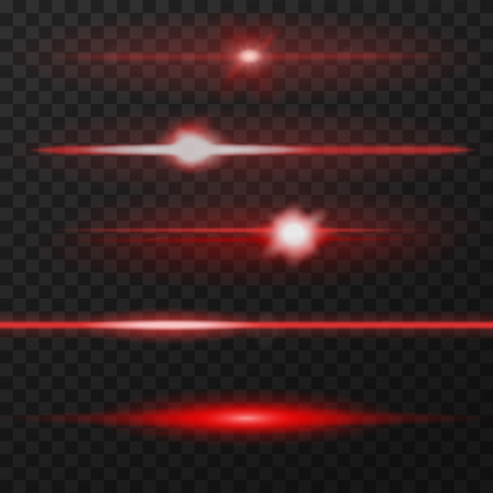 Illustration pour Red horizontal lens flares pack. Laser beams, horizontal light rays. - image libre de droit