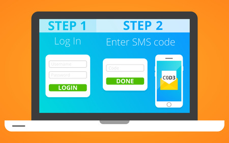 Ilustración de Concept of two factor authentication via SMS. Vector, eps 10. - Imagen libre de derechos