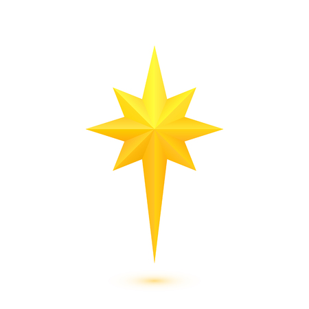 Ilustración de Star of Bethlehem. Golden octagram. Eight-angled star. Vector isolated - Imagen libre de derechos