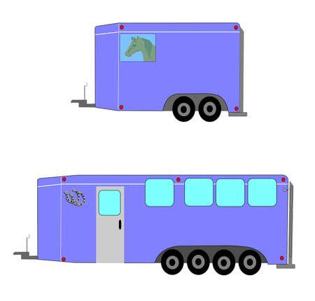 Illustration pour horse trailers  - image libre de droit