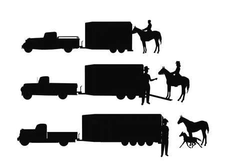 horse trailers with cowboys in silhouette