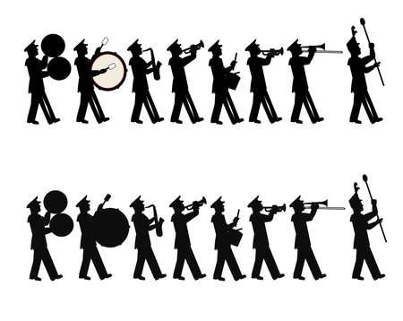 Ilustración de marching band in 2 styles - Imagen libre de derechos