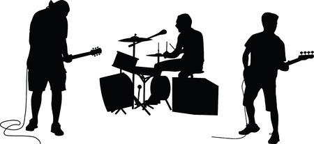 Illustration pour music band silhouette vector - image libre de droit