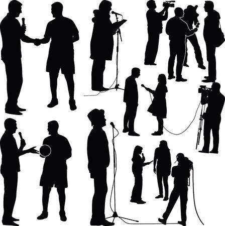 Illustration pour interview silhouette vector - image libre de droit