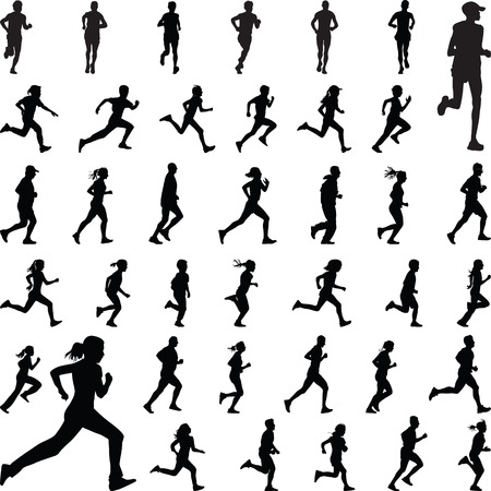Illustration for runners silhouette vector - Royalty Free Image
