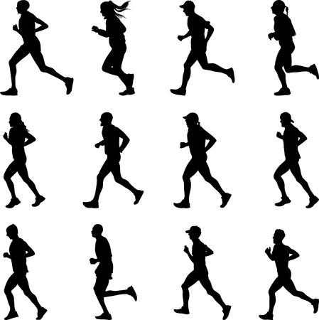 Ilustración de runer silhouette vector - Imagen libre de derechos