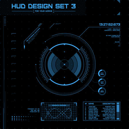Illustration pour HUD and GUI set. Futuristic User Interface. Vector illustration for your design - image libre de droit